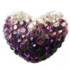 Pandantiv shamballa inima alb violet 20x16x12mm