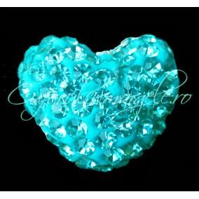 Pandantiv shamballa inima albastru azur 15x13x9mm