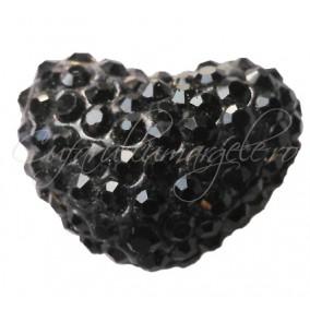 Pandantiv shamballa inima negru 20x16x12mm