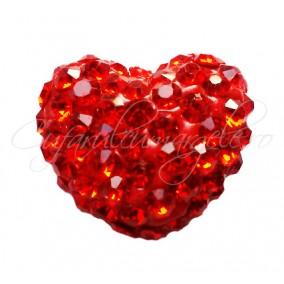 Pandantiv shamballa inima rosu 15x13x9mm
