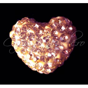Pandantiv shamballa inima roz piersica 15x13x9mm