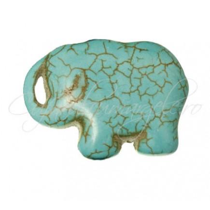 Pandantiv turcoaz sintetic elefant 40x30x10mm