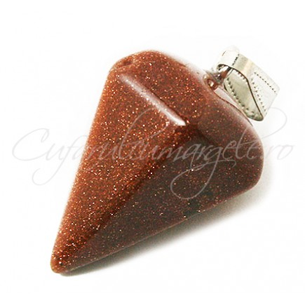 Pendul piramida fatetata brown goldstone 30x15mm
