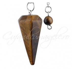 Pendul piramida fatetata ochi tigru 40x20mm
