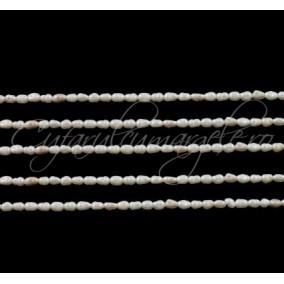 Perle de cultura albe 4x3 mm sirag 38 cm