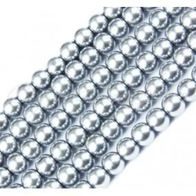 Perle sticla 10mm argintiu sirag 80cm