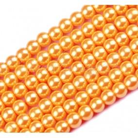 Perle sticla 10mm caramiziu sirag 80cm