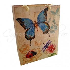 Punga cadou fluture albastru 23x18x10mm