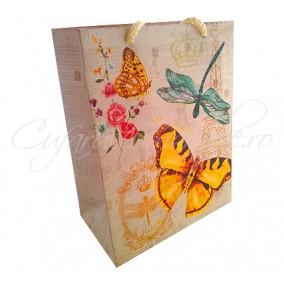 Punga cadou fluture galben 23x18x10mm
