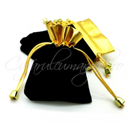 Saculet catifea negru auriu 10x8cm
