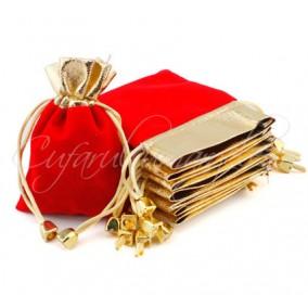 Saculet catifea rosu auriu 10x8cm