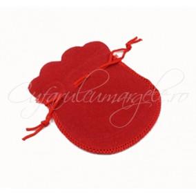 Saculet rotund catifea rosu 12x9cm