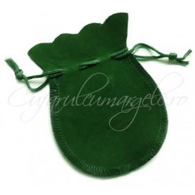 Saculet rotund catifea verde 11x8cm