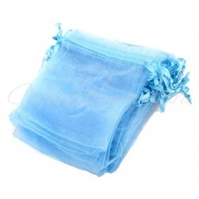 Saculeti organza bleu 12x9cm