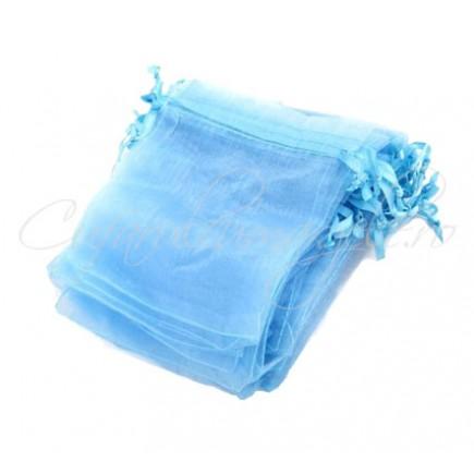 Saculeti organza bleu 9x7cm