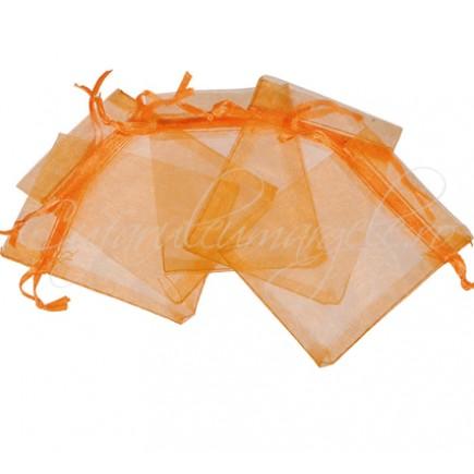 Saculeti organza oranj 12x9cm
