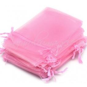 Saculeti organza roz 16x11cm