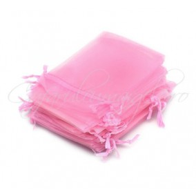 Saculeti organza roz 9x7cm