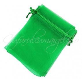Saculeti organza verde iarba 12x9cm