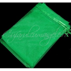 Saculeti organza verde iarba 16x11cm