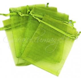 Saculeti organza verde oliv 9x7cm