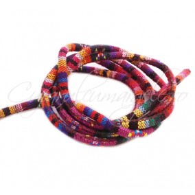 Snur etnic cilindric 5mm multicolor 1m