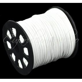 Snur faux suede alb 3x2mm 1m