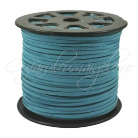 Snur faux suede albastru 3x2mm 1m