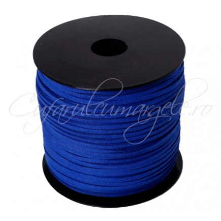 Snur faux suede albastru regal 3x2mm 1m