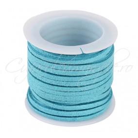 Snur faux suede bleu 3x2mm rola 4,2m