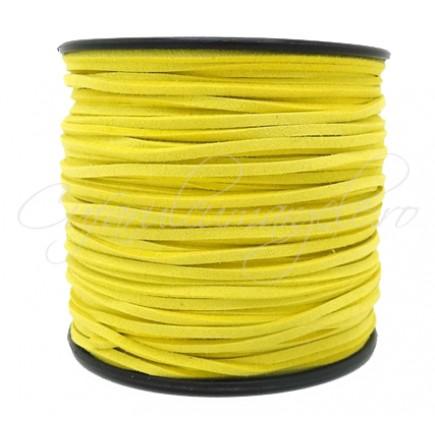 Snur faux suede galben lamaie 3x2mm 1m