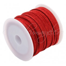 Snur faux suede rosu 3x2mm rola 4,2m