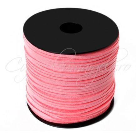 Snur faux suede roz 3x2mm 1m