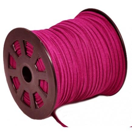 Snur faux suede roz bujor 3x2mm 1m
