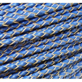 Snur impletit 1 m piele naturala 3 mm albastru