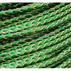 Snur impletit 1 m piele naturala 3 mm verde