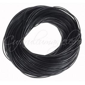 Snur piele naturala 1 m fir rotund 1,5 mm negru