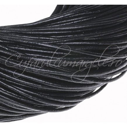 Snur piele naturala 1 m fir rotund 2,5 mm negru