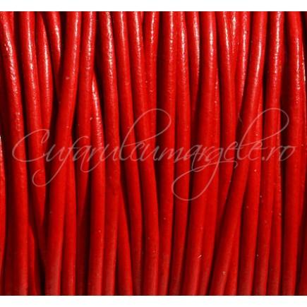 Snur piele naturala 1 m fir rotund 2,5 mm rosu