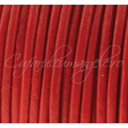 Snur piele naturala 1 m fir rotund 3 mm rosu