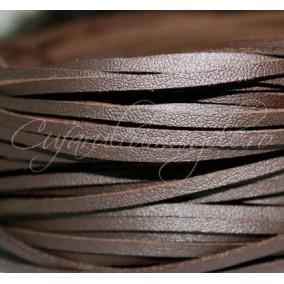 Snur piele naturala fir patrat 4x3 mm maro ciocolata