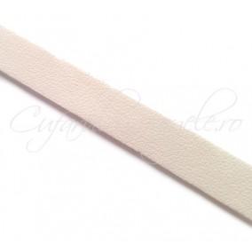 Snur piele naturala fir plat 10 mm alb 1m