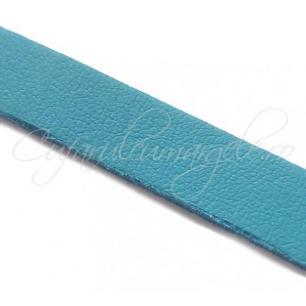 Snur piele naturala fir plat 10 mm bleu 1m