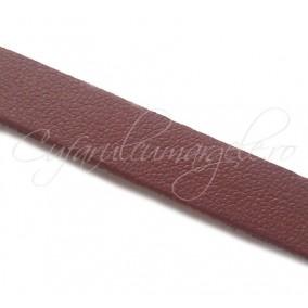 Snur piele naturala fir plat 10 mm maro roscat 1m