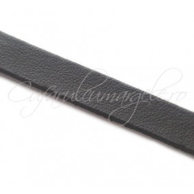 Snur piele naturala fir plat 10 mm negru 1m