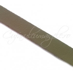 Snur piele naturala fir plat 10 mm verde kaki 1m