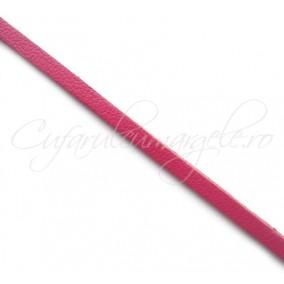 Snur piele naturala fir plat 3 mm fucsia 1 m