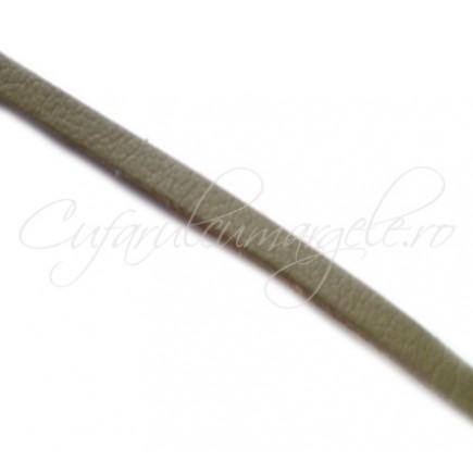 Snur piele naturala fir plat 3 mm kaki 1 m