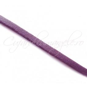 Snur piele naturala fir plat 3 mm mov 1 m