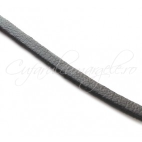 Snur piele naturala fir plat 3 mm negru 1 m